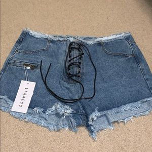 Lace Up Jean Shorts